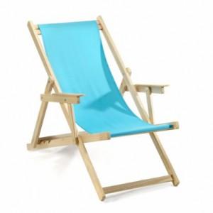 Liegestuhl aus Massivholz und 100 % Baumwolle, Strandstuhl Farbe azur blau