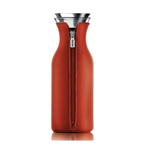 Kühlschrank Karaffe 1L Glas transparent Neonprenanzug rot