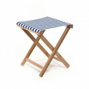 Hocker aufklappbar, Hocker aus Stoff und Holz, Farbe blau-weiß