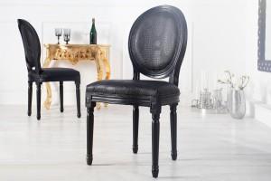 Barock Stuhl schwarz Stuhl mit Kunstleder-Bezug