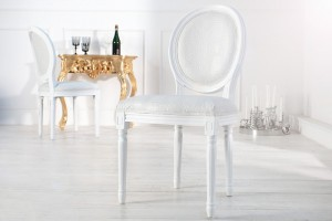 Barock Stuhl weiß, Stuhl mit Kunstleder-Bezug