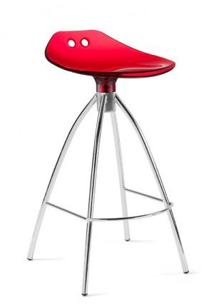 Tresenhocker rot, Barhocker rot verchromtes Gestell, Sitzhöhe 65 cm