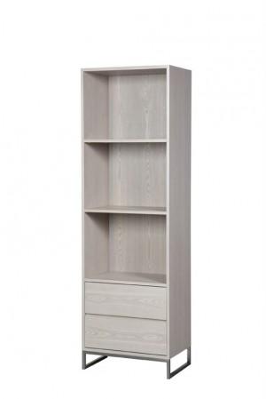 Bücherschrank, Schrank Farbe beige-grau, Breite 60 cm