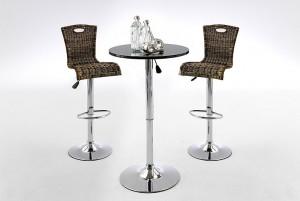 Bartisch höhenverstellbar, Stehtisch höhenverstellbar in drei Farben weiß, schwarz und Walnuss furniert,  Höhe 85-105 cm