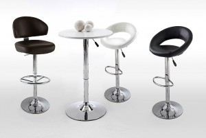 Bartisch höhenverstellbar, Stehtisch höhenverstellbar in zwei Farben weiß und schwarz,  Höhe 85-105 cm
