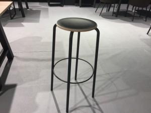 Barstuhl schwarz Metall-Gestell, Barhocker schwarz Metall, Sitzhöhe 65 cm