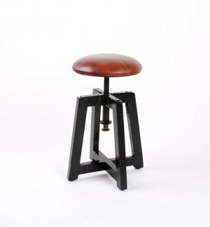 Hocker gepolstert, höhenverstellbar im Industriedesign, Sitzhöhe 51-68 cm