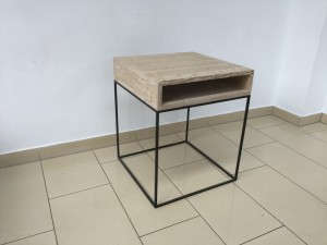 Beistelltisch Metall-Holz, Nachttisch Landhaus Metall
