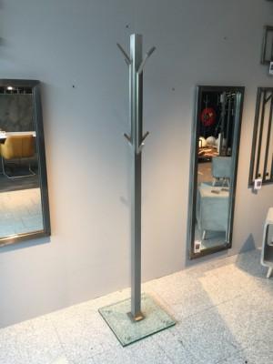 Garderobenständer,  Standgarderobe aus Edelstahl und Glas, Höhe 185 cm