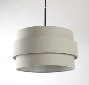 Pendelleuchte, Lampenschirm leinen-grau, Ø 36 cm