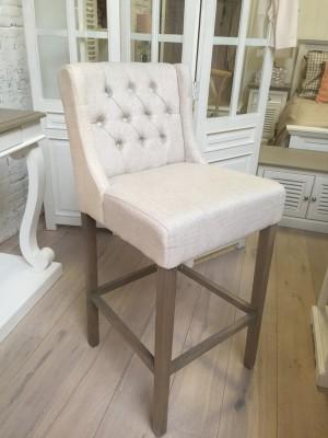 Barstuhl leinen-sand  gepolstert, Barhocker, Sitzhöhe 75 cm