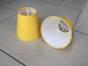 KIemmschirm gelb, Steckschirm gelb für Kronleuchter, Aufsteckschirm gelb  Ø 14 cm