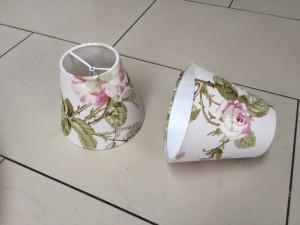 KIemmschirm Blumenmuster, Lampenschirm für Kronleuchter, Form rund Ø 14 cm
