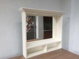 Spiegel weiß Massivholz,  Spiegel im Landhausstil, Maße 93x80 cm