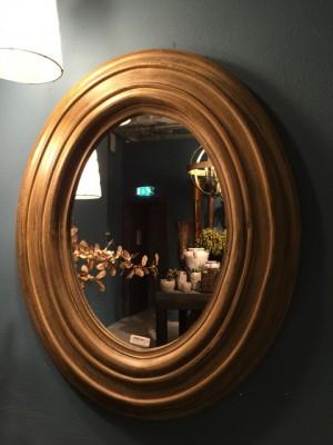 Spiegel rund Massivholz,  Wandspiegel rund Holz, Durchmesser 100 cm