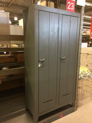 Kleiderschrank Farbe grau, Schrank 2 Türen, Kinderzimmerschrank grau, Breite 95 cm