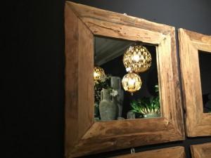 Spiegel Massivholz Teak, Wandspiegel, Maße 100 x 100 cm