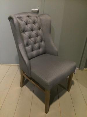 Stuhl gepolstert, Polsterstuhl Chesterfield,  Farbe Grau