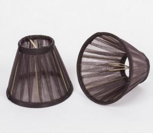 KIemmschirm Organza Braun, Lampenschirm für Kronleuchter, Form rund Ø 14 cm