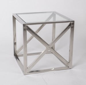 Beistelltisch verchromt aus Metall und Glas, 40 x 40 cm
