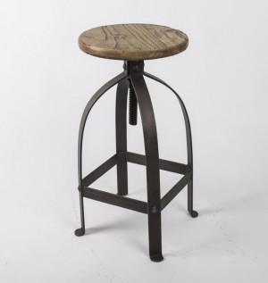 Barhocker im Industrielook aus Metall und  Massivholz, Hocker im Industriedesign, Sitzhöhe ca. 48-75 cm