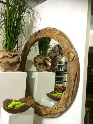 Spiegel Treibholz, Wandspiegel mit Treibholzrahmen, Durchmesser 160 cm