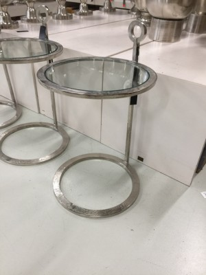 Beistelltisch silber Glas-Metall, Tisch Glas-Metall
