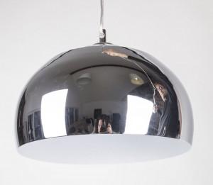 Pendelleuchte aus Metall, Hängeleuchte Farbe Chrom-Weiß, Ø  34 cm