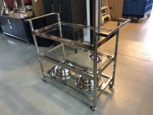 Servierwagen Glas Metall, Serviertisch Metall verchromt, Trolley verchromt