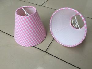 KIemmschirm kariert rosa-weiß, Steckschirm rosa-weiß für Kronleuchter, Aufsteckschirm kariert,  Ø 14 cm