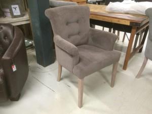 Gepolsterter Stuhl mit Armlehne, Stuhl braun-grau