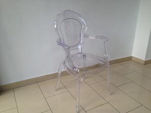 Stuhl mit Armlehne Barock transparen aus Kunststoff