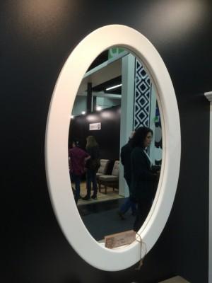 Spiegel oval Massivholz,  Spiegel im Landhausstil, Maße 65x100 cm