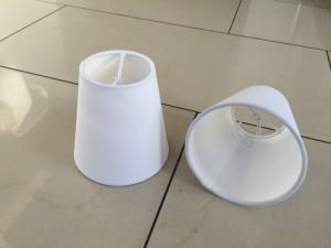 KIemmschirm weiß, Aufsteckschirm weiß, Lampenschirm für Kronleuchter, Form rund Ø 11 cm