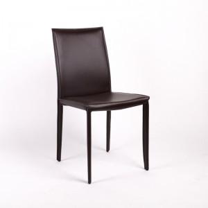 Stuhl aus Lederfaserstoff / Echtleder, Farbe braun