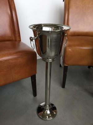 Sektkühler Silber mit Standsäule, Stand-Weinkühler verchromt, Weinkühler silber