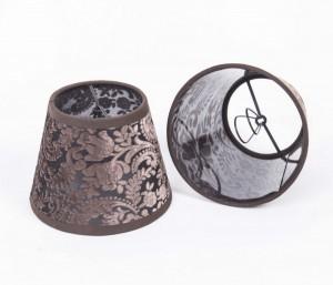 KIemmschirm braun, Lampenschirm für Kronleuchter, Form rund Ø 14 cm