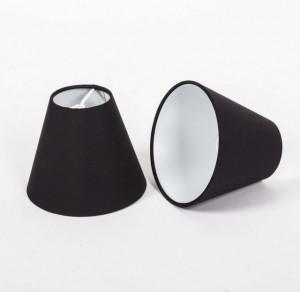 KIemmschirm schwarz, Steckschirm für Kronleuchter, Form rund Ø 14 cm