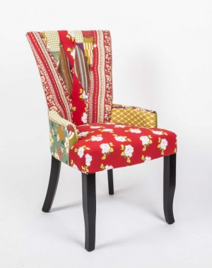 Stuhl gepolstert mit Armlehne, Stuhl im Landhausstil, grauer Samtstoff ...