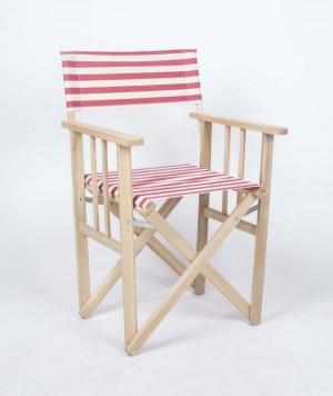 Klappstuhl, Regiestuhl aus Massivholz und gestreiften Stoff, Gartenstuhl Farbe rot-weiß
