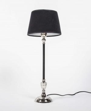Tischlampe schwarz- Silber, Tischleuchte  mit Lampenschirm schwarz, Höhe 52 cm