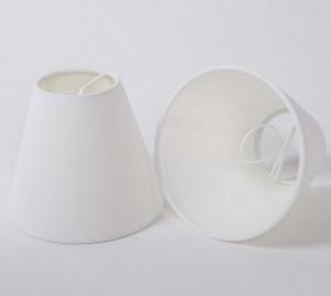 KIemmschirm weiß, Steckschirm  für Kronleuchter, Form rund Ø 14 cm