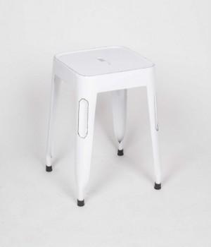 Hocker Weiß aus Metall im Industriedesign, Sitzhöhe 45 cm