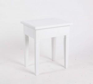 Hocker aus Holz, Farbe Weiß, Sitzhöhe 46 cm