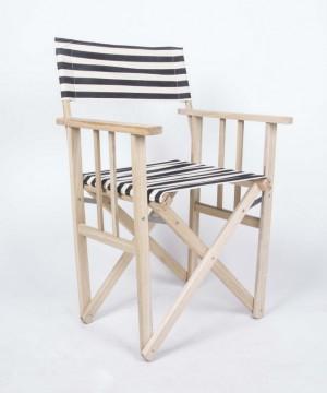 Regiestuhl aus Massivholz und gestreiftem Textilstoff, Gartenstuhl, Farbe schwarz-weiß
