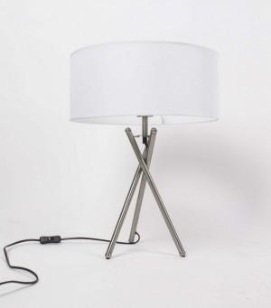 Tischleuchte, moderne Tischlampe mit einem weißen Lampenschirm, Höhe 52 cm