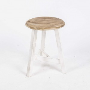 Hocker Massivholz, Hocker weiß-braun, Sitzhöhe 47 cm