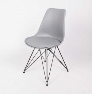 Design Stuhl grau, Stuhl gepolstert grau mit Metallgestell schwarz