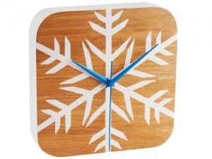 Karlsson Wanduhr Winter Holz braun weiß blau