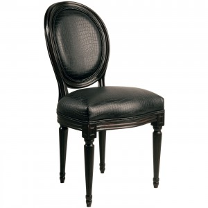 Stuhl schwarz, Barock-Stuhl gepolstert